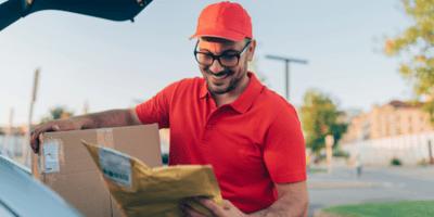 Delivery man delivering packages