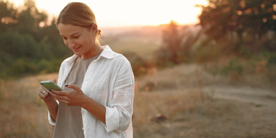 Women using field mobile software on mobile device