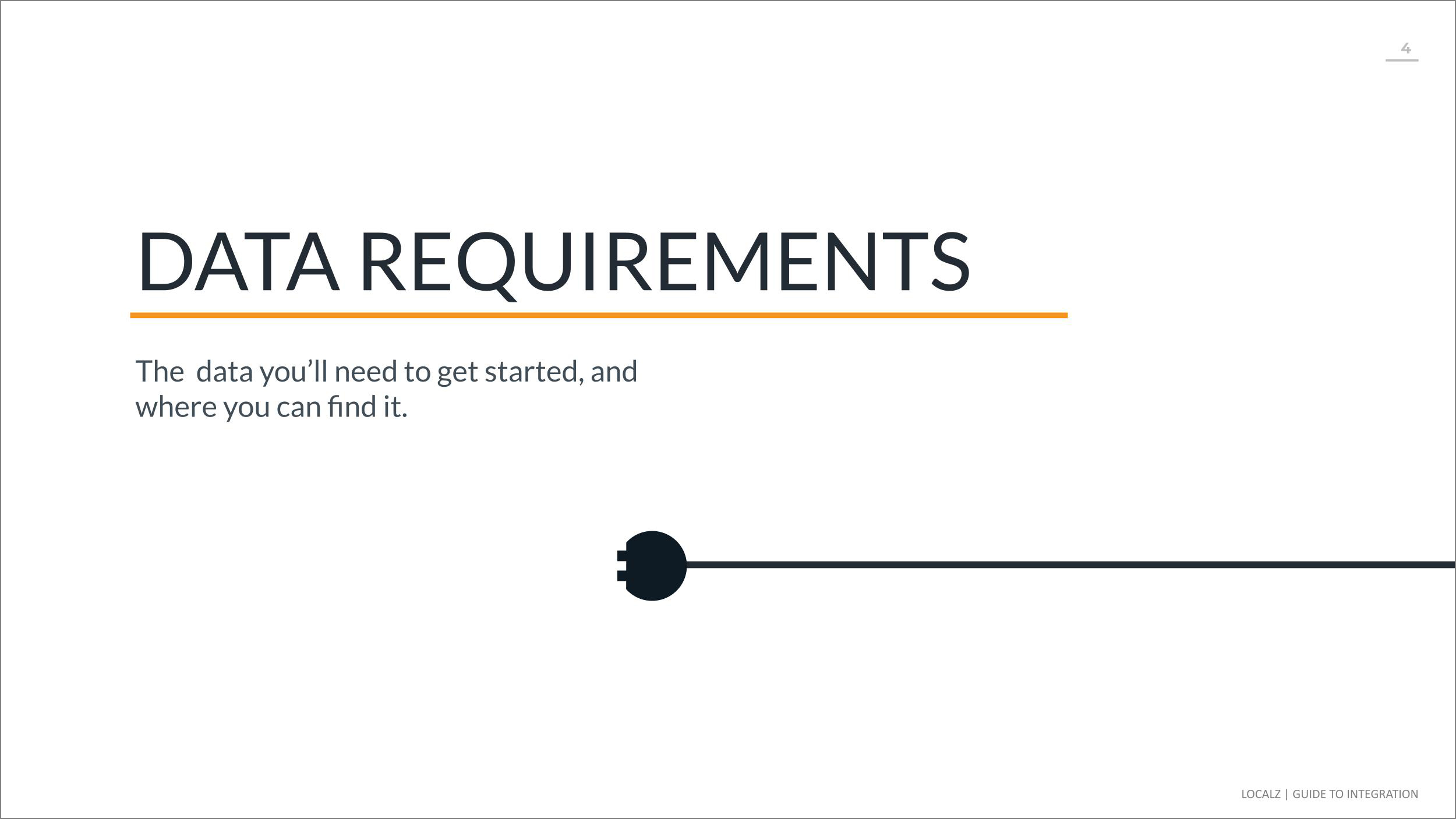 Localz service delivery data requirements